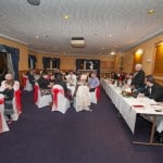 wedding at uphall golf club top table with bridal party and guests