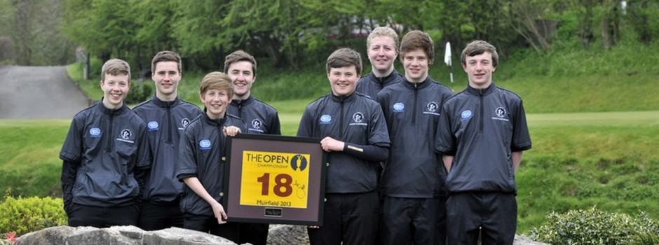 The junior squad with a genuine Muirfield flag signed by Adam Scott