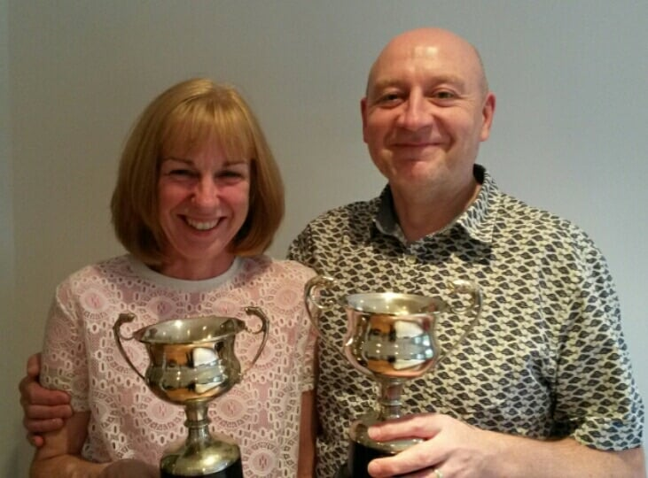 Brian and Rosemary Sharp all smiles with their trophies