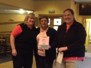Lady Captain Terry Robertston with L Sabin & J Quin (Falkirk/Bonnybridge) Winners of the Uphall Ladies Pink Greensomes Trophy for 2015