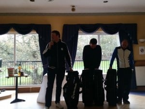 Scott McKinnon (Snr) in full flow of his acceptance speech, whilst Kenny and Colin try to work out what they're going to do with another golf bag!