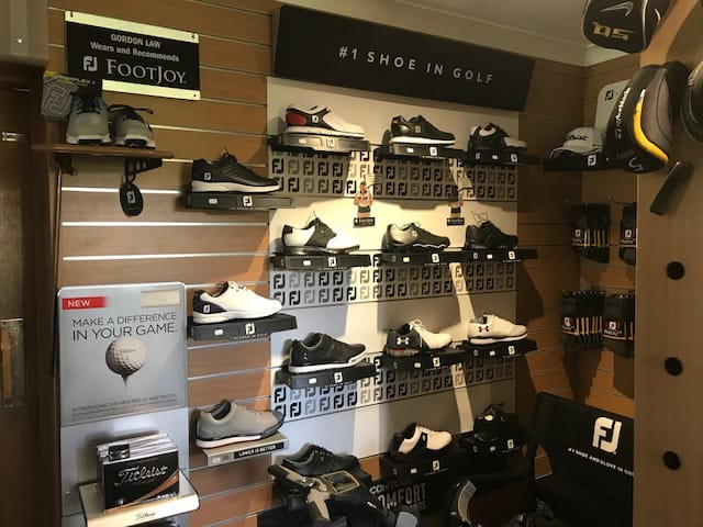 Pro shop golf shoe stand